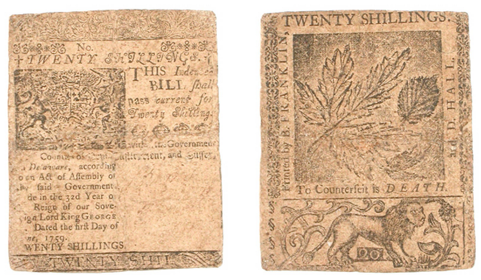 2cc0fb4d60229f American Currency, Twenty Shillings nature printed note printed by B.  Franklin and Hall in