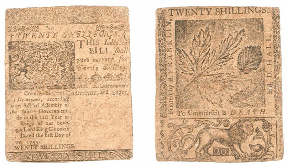 American Currency, Twenty Shillings nature printed note printed by B. Franklin and Hall in Delaware 1759
