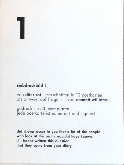 Dieter Roth Postcards   siebdruckbild 1   1967   Zucker Art